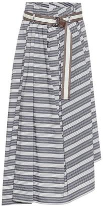 Brunello Cucinelli Striped cotton midi skirt