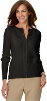 Alfred Dunner Petite Cable-Knit Cardigan