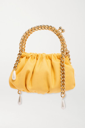 Rosantica Maria Luisa Faux Pearl-embellished Cotton And Gold-tone Tote - Yellow