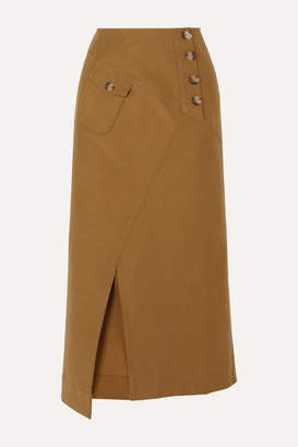 REJINA PYO Astrid Cotton-blend Twill Midi Skirt - Camel