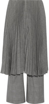 Facetasm Pleated Checked Wool Straight-leg Pants - Light gray