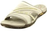 Merrell Terran Post Women Open Toe Leather Gray Slides Sandal.