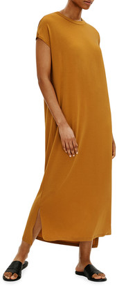 Eileen Fisher Crewneck Viscose Jersey High-Low Dress