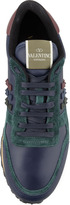 Valentino Rockstud Leather & Suede Sneaker, Blue/Green