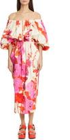 Dries Van Noten Dayna Floral Off the Shoulder Midi Dress