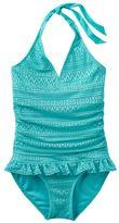 Girls 4-16 SO® Blue Crocheted Halter One-Piece Swimsuit
