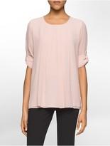 Calvin Klein Pleat Front Long-Sleeve Top