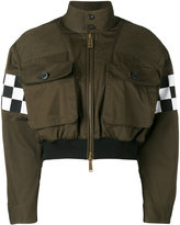 DSQUARED2 checkboard cropped bomber jacket - women - Cotton - 36