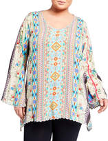 Johnny Was Plus Plus Size Stella Printed Flare-Sleeve Rayon Georgette Blouse