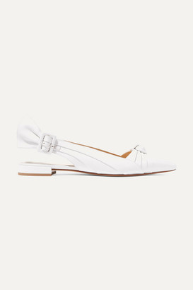 Francesco Russo Knotted Leather Slingback Flats - White