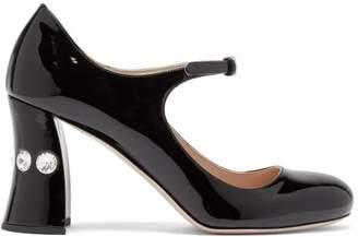 Miu Miu Crystal-embellished Mary-jane Leather Pumps - Womens - Black