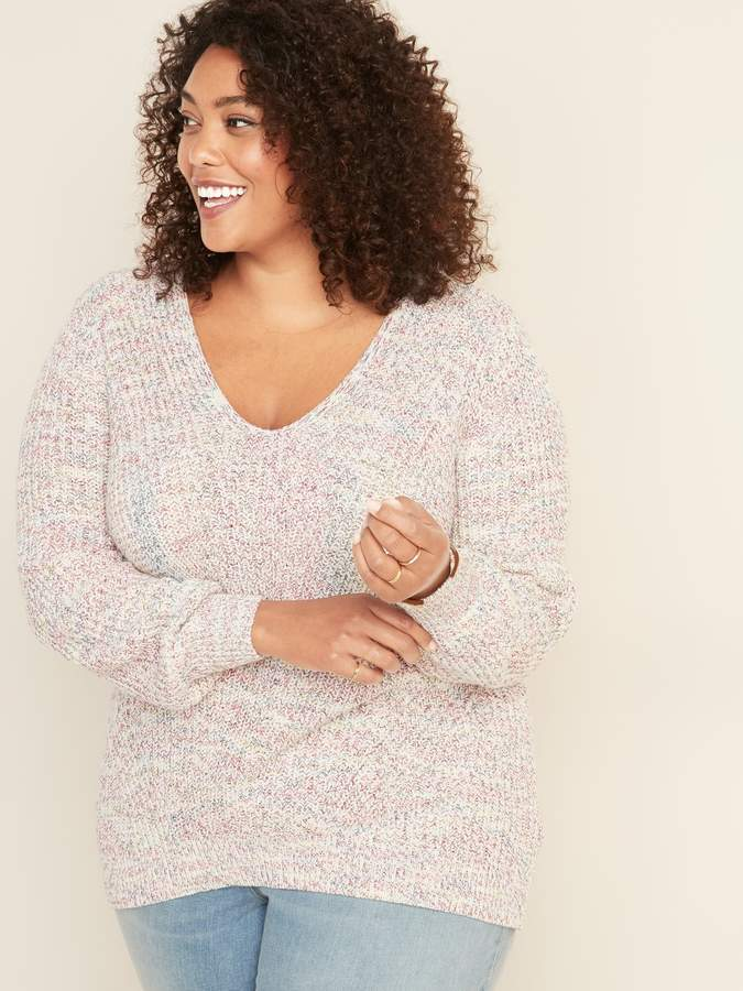Old Navy Shaker-Stitch V-Neck Plus-Size Sweater