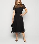 New Look Petite Chiffon Spot Midi Dress