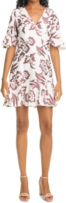 Rebecca Taylor Amea Floral Jacquard Ruffle Dress