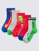Marks and Spencer 5 Pairs of FreshfeetTM Cotton Rich Socks (1-6 Years)