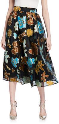 Stine Goya Laila Floral Metallic Midi Skirt