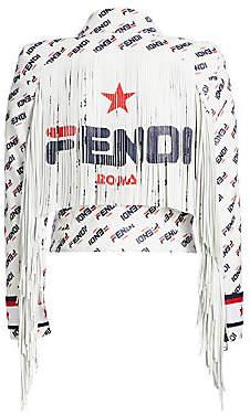 Fendi Women's Fringed Mania Fila Logo Leather Jacket