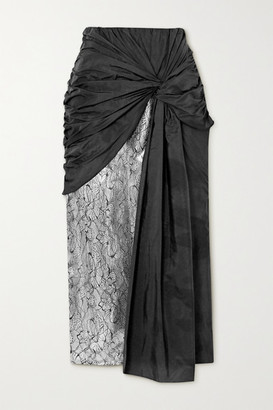 16Arlington Shulan Knotted Shell, Lace And Sequin-embellished Satin Midi Skirt - Black