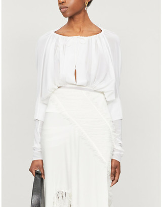CHRISTOPHER ESBER Emry ruched silk-crepe blouse