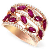 Effy 14K Rose Gold Ruby Ring with 0.46 TCW Diamonds