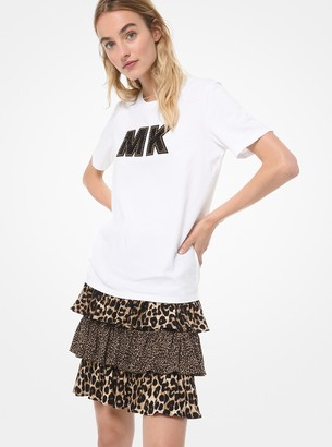 MICHAEL Michael Kors Embellished Logo Cotton-Jersey T-Shirt