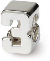 Reflections Sterling Silver Kids Numeral 3 Bead (3.25mm Diameter Hole)