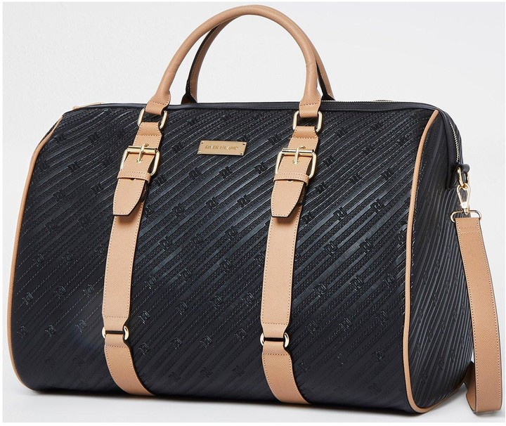 Thumbnail for your product : River Island Oversized Embossed Ri Barrel Bag