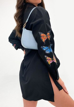 Missguided Black Butterfly Oversized Dip Back Shirt Dress
