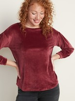 Old Navy Relaxed Pleated-Sleeve Velour Top for Women