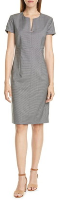 HUGO BOSS Daedalus Microcheck Wool Sheath Dress
