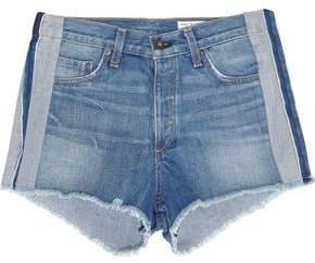Rag & Bone Frayed Paneled Denim Shorts