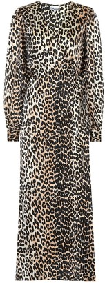 Ganni Leopard-printed stretch-silk dress