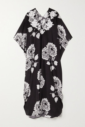 MARIE FRANCE VAN DAMME Boubou Embroidered Silk Crepe De Chine Kaftan - Black