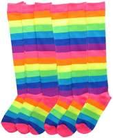 Angelina NEON Rainbow Striped Knee High Socks, 6-Pair Lady's _9-11_6