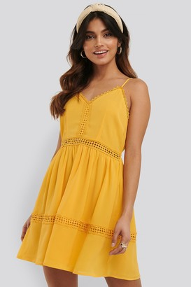 NA-KD Lace Insert Flowy Mini Dress