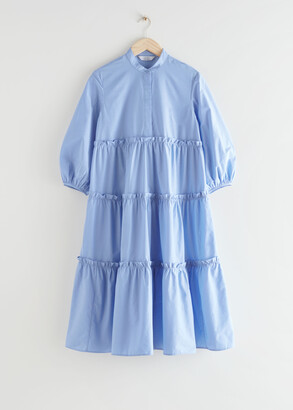 And other stories Voluminous Tiered Puff Sleeve Midi Dress