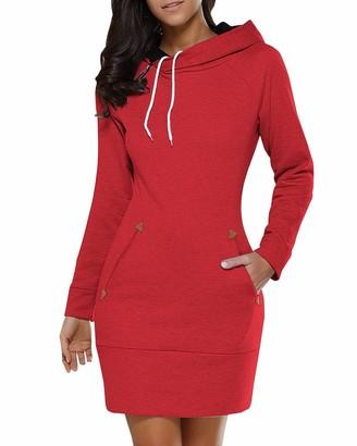 Biubiu BUIBIU Women Ladies Long Sleeve Casual Slim Fit Midi Hoodie Dress with Pocket Red UK 14