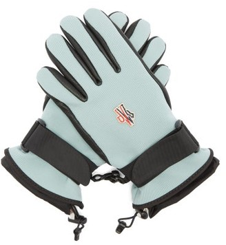 MONCLER GRENOBLE Logo Patch Twill And Leather Ski Gloves - Light Blue