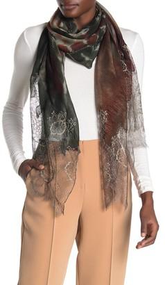 Valentino Cashmere Blend Tie-Dye Print Plisse Shawl