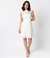 Unique Vintage White Rose Burnout Cap Sleeve Vera Flare Dress