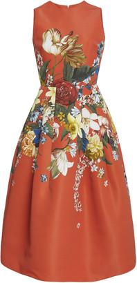 Oscar de la Renta Floral-Print Crepe Midi Dress