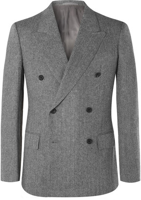 Kingsman Grey Slim-fit Double-breasted Herringbone Wool And Cashmere-blend Suit Jacket - Gray