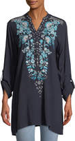 Neiman Marcus Embroidered V-Neck Tunic