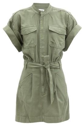 Frame Patch-pocket Belted Cotton Shirt Dress - Khaki