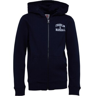 Franklin & Marshall Junior Boys Badge Logo Zip Hoodie Navy