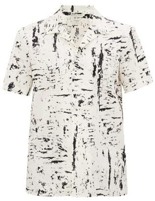 Bottega Veneta Paint-print Cotton-poplin Short-sleeved Shirt - Mens - White Black