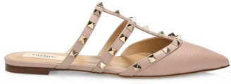 Valentino Rockstud Flat Leather Mules