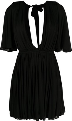 Saint Laurent Plunging-Neck Flared Dress