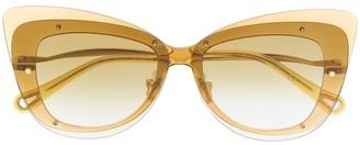 Chloé Eyewear Cat Eye Transparent Frame Sunglasses