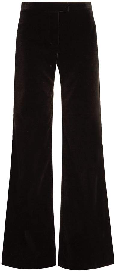 Goat Countess wide-leg stretch-cotton velvet trousers